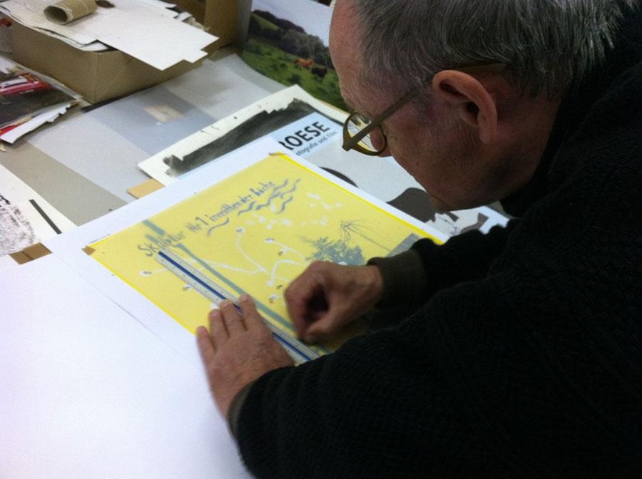 Die Siebdruckgrafik für das Projekt 'Hortus Botanikus' wird erstellt