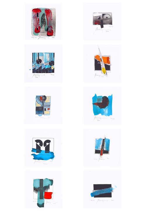 Franz Leinfelder Serigraphie aus 10 Miniaturen 2000
